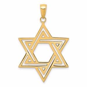 14k Solid Polished Star Of David Charm